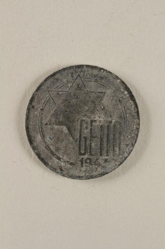 2000.488.1 front Lodz (Litzmannstadt) ghetto scrip, 5 mark coin