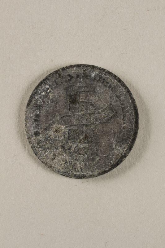 2000.488.1 back Łódź (Litzmannstadt) ghetto scrip, 5 mark coin