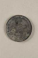 2000.488.1 back Łódź (Litzmannstadt) ghetto scrip, 5 mark coin  Click to enlarge
