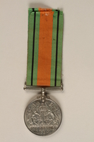 2000.226.3 back Defence Medal issued for service in the British Army during World War II  Click to enlarge