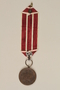 Medal and maroon and white ribbon