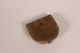Brown leather coin purse with gold monogram used by a hidden child