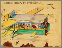 2001.328.6 front Watercolor of a flying passenger bus created by a French Jewish boy in hiding  Click to enlarge