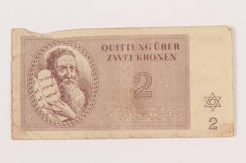 2000.500.2 front Theresienstadt ghetto-labor camp scrip, 2 kronen note