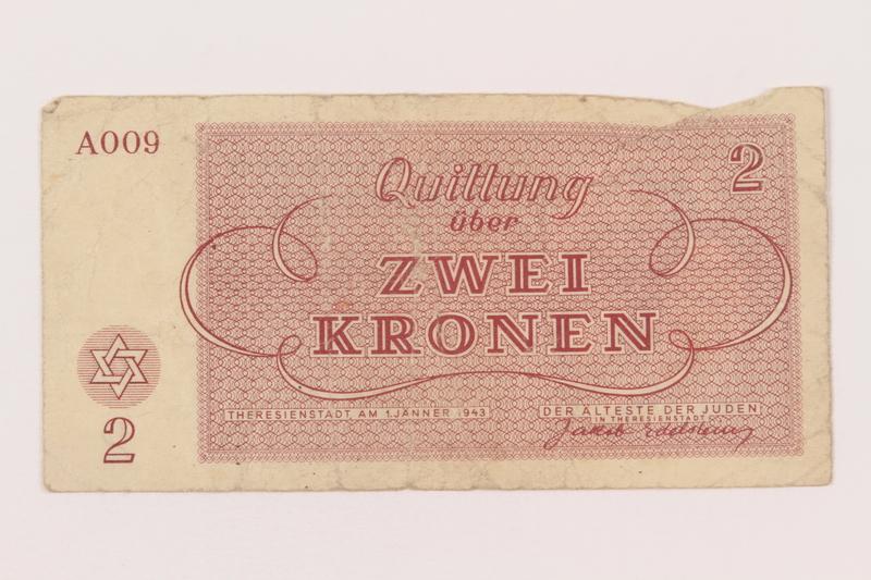 2000.500.2 back Theresienstadt ghetto-labor camp scrip, 2 kronen note