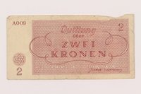 2000.500.2 back Theresienstadt ghetto-labor camp scrip, 2 kronen note  Click to enlarge