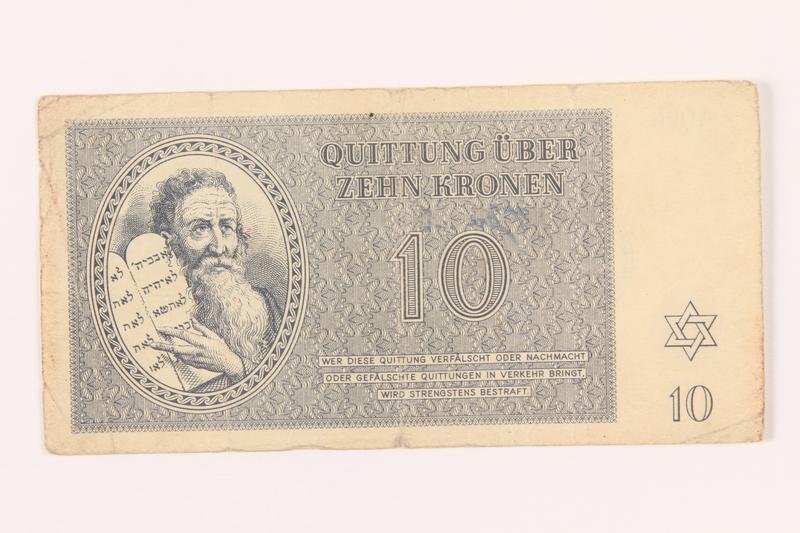2000.500.4 front Theresienstadt ghetto-labor camp scrip, 10 kronen note