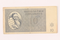 2000.500.4 front Theresienstadt ghetto-labor camp scrip, 10 kronen note  Click to enlarge