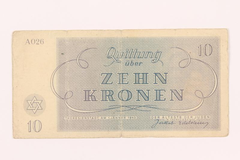 2000.500.4 back Theresienstadt ghetto-labor camp scrip, 10 kronen note