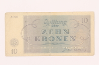 2000.500.4 back Theresienstadt ghetto-labor camp scrip, 10 kronen note  Click to enlarge