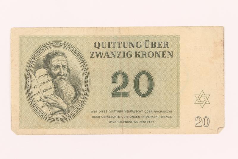 2000.500.5 front Theresienstadt ghetto-labor camp scrip, 20 kronen note