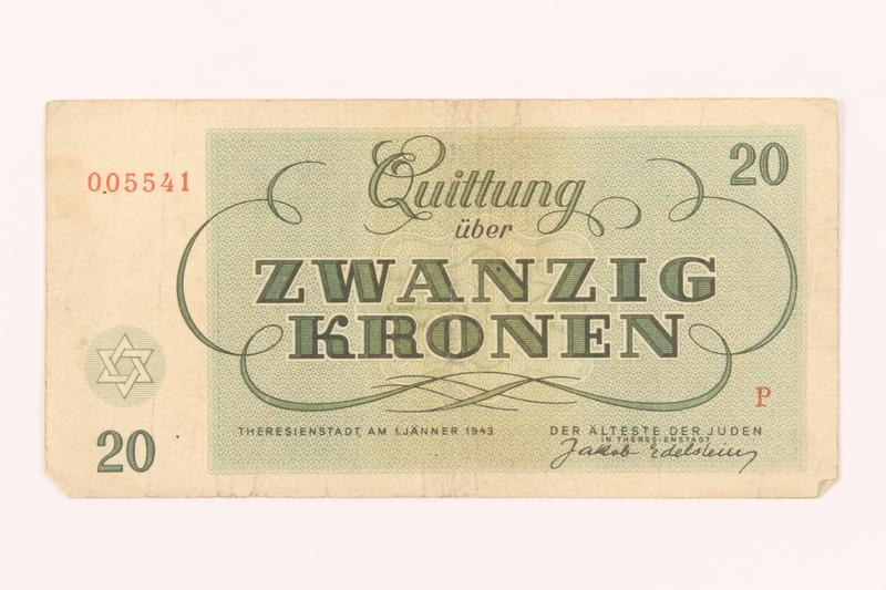 2000.500.5 back Theresienstadt ghetto-labor camp scrip, 20 kronen note