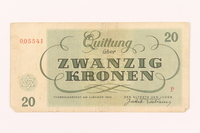 2000.500.5 back Theresienstadt ghetto-labor camp scrip, 20 kronen note  Click to enlarge