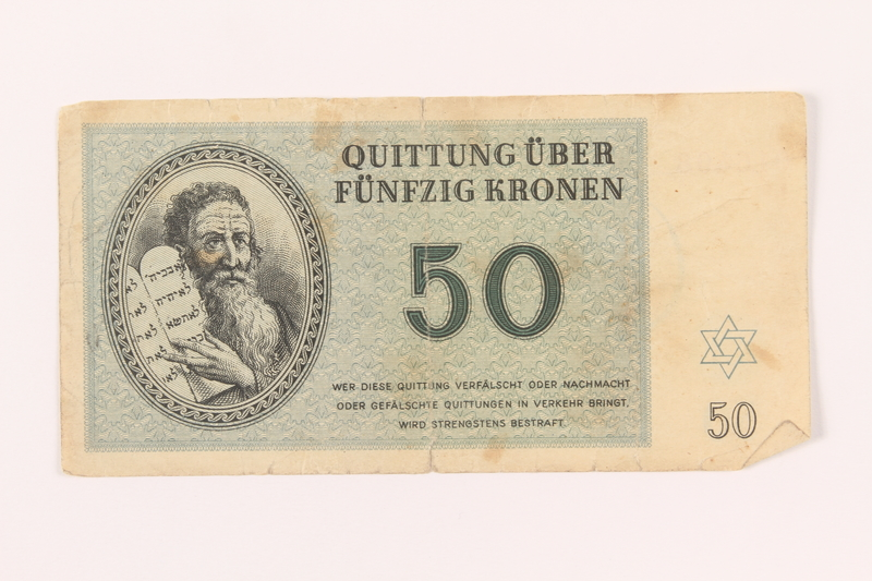 2000.500.6 front Theresienstadt ghetto-labor camp scrip, 50 kronen note