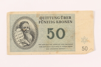 2000.500.6 front Theresienstadt ghetto-labor camp scrip, 50 kronen note  Click to enlarge