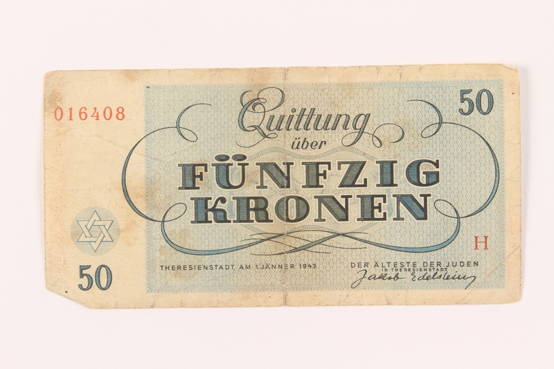 2000.500.6 back Theresienstadt ghetto-labor camp scrip, 50 kronen note
