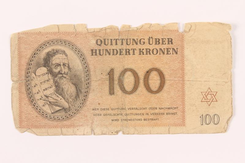 2000.500.7 front Theresienstadt ghetto-labor camp scrip, 100 kronen note