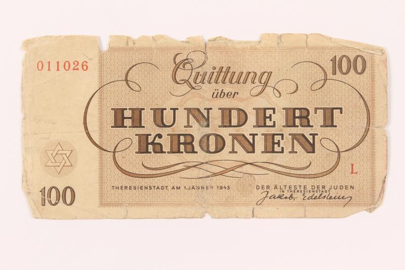 2000.500.7 back Theresienstadt ghetto-labor camp scrip, 100 kronen note