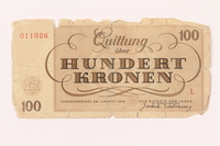 2000.500.7 back Theresienstadt ghetto-labor camp scrip, 100 kronen note  Click to enlarge