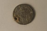 2002.429.1 back Łódź (Litzmannstadt) ghetto scrip, 5 mark coin  Click to enlarge