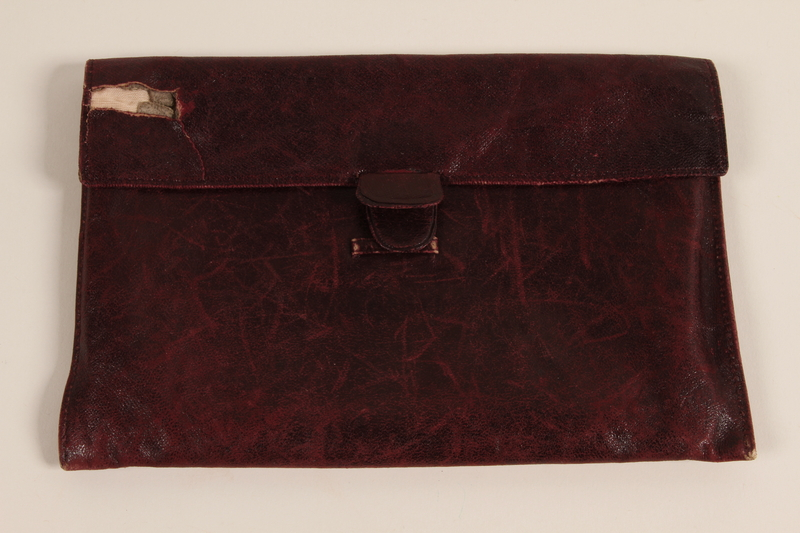 2002.436.3 front Red leather pouch used by a Czech Jewish inmate in Theresienstadt