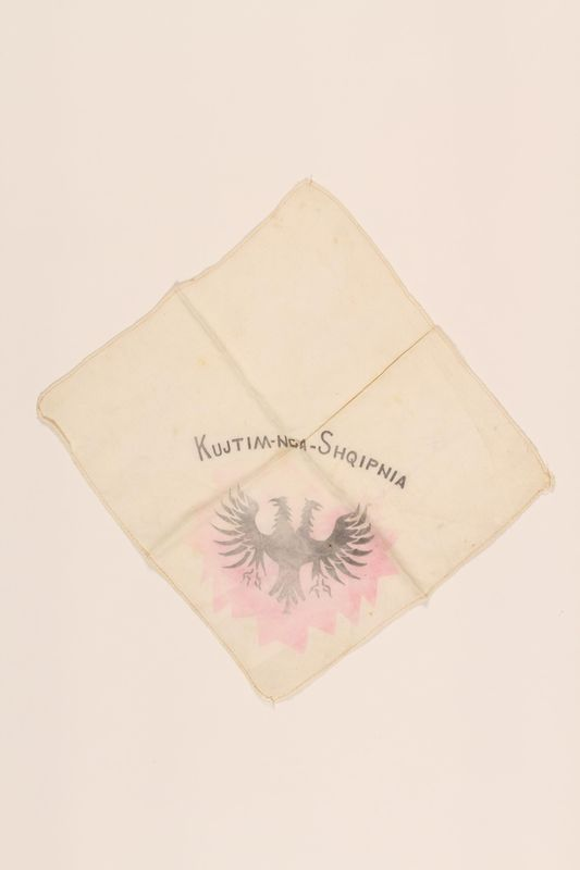 2002.438.3 front Handkerchief with the Albanian 2-headed eagle owned by a Jewish boy who fled German occupied Belgrade