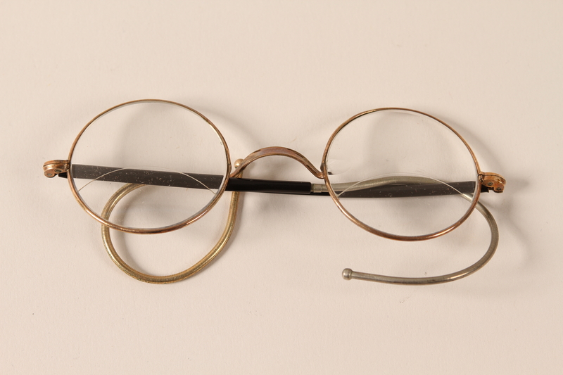2002.438.5 a front Eyeglasses and case used by a Jewish man who fled Nazi occupied Belgrade with his family