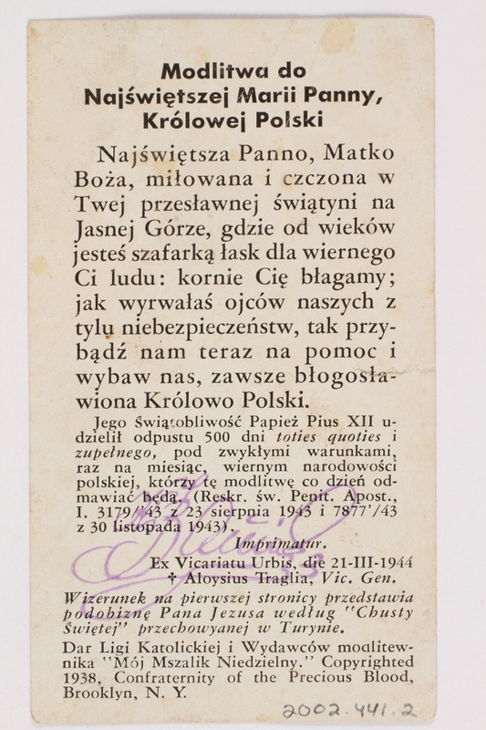 2002.441.2 back Our Lady of Czestochowa holy card received by a young Jewish girl living in hiding as a Catholic in Poland