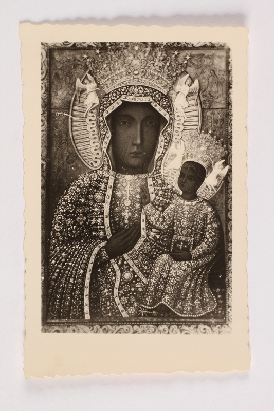 2002.441.3 front Our Lady of Czestochowa holy card received by a young Jewish girl living in hiding as a Catholic in Poland