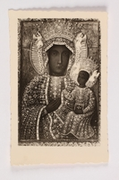 2002.441.3 front Our Lady of Czestochowa holy card received by a young Jewish girl living in hiding as a Catholic in Poland  Click to enlarge
