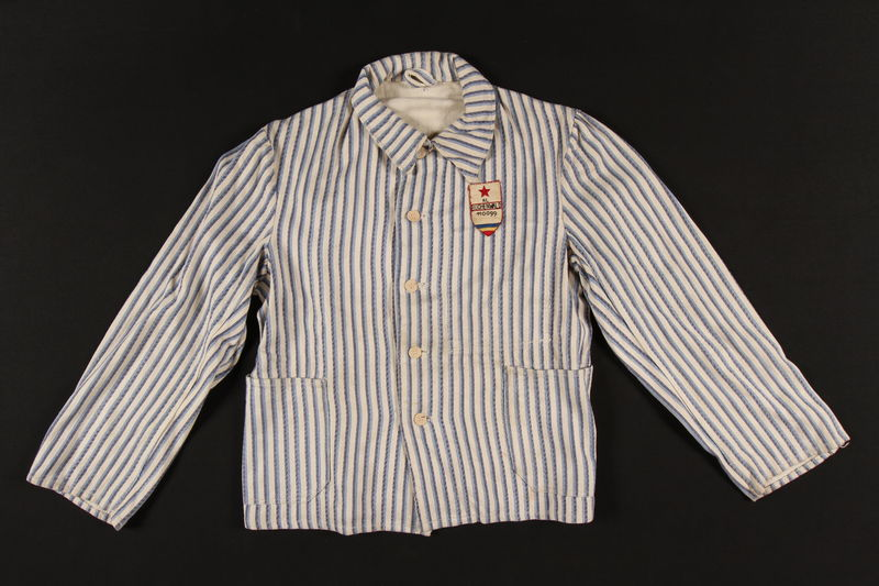 2002.467.1 front Concentration camp uniform jacket with post liberation Buchenwald patch worn by a Romanian Jewish inmate