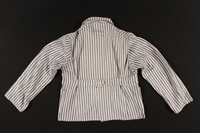 2002.467.1 back Concentration camp uniform jacket with post liberation Buchenwald patch worn by a Romanian Jewish inmate  Click to enlarge