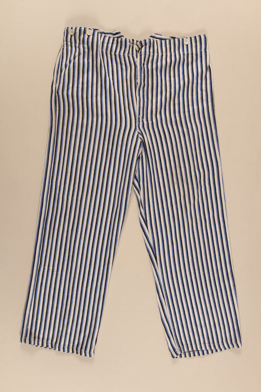 2002.467.2 front Concentration camp uniform pants worn by a Romanian Jewish inmate at Buchenwald