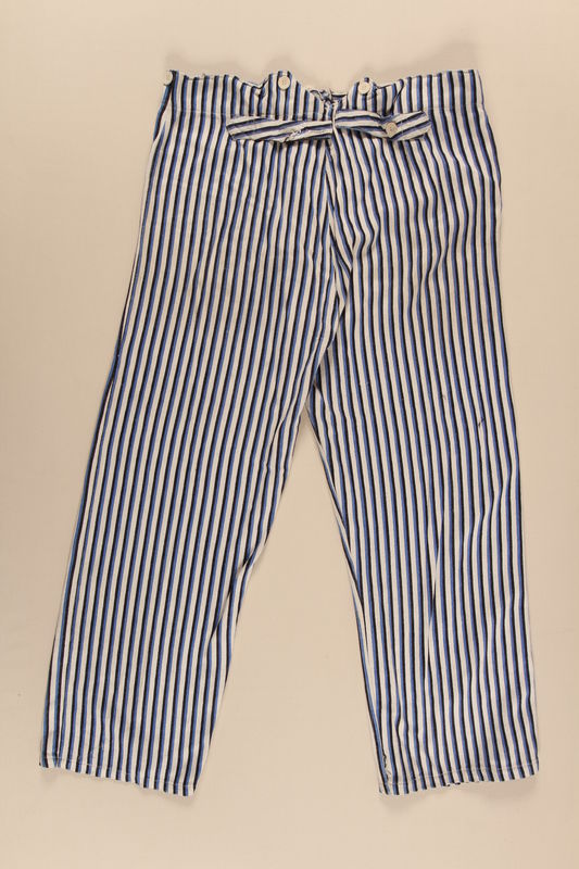 2002.467.2 back Concentration camp uniform pants worn by a Romanian Jewish inmate at Buchenwald