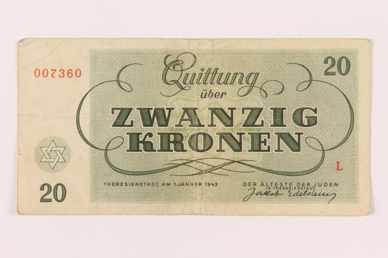 1999.289.1 back Theresienstadt ghetto-labor camp scrip, 20 kronen