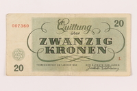 1999.289.1 back Theresienstadt ghetto-labor camp scrip, 20 kronen  Click to enlarge