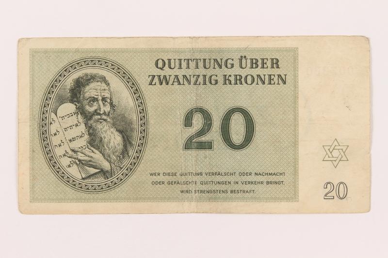 1999.289.1 front Theresienstadt ghetto-labor camp scrip, 20 kronen