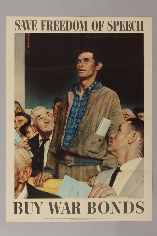 1988.42.1 front US war bonds poster of a Rockwell painting depicting a man exercising freedom of speech