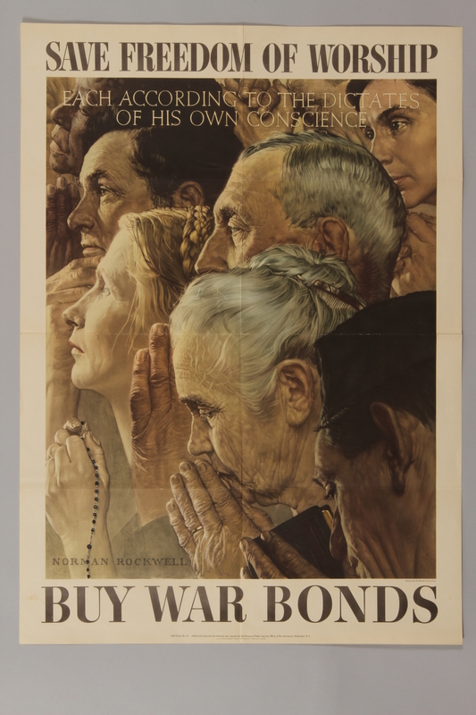 1988.42.2 front US war bonds poster with Rockwell painting of people of different faiths to promote freedom of worship