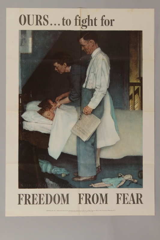 1988.42.3 front US war bonds poster of a Rockwell painting depicting a couple checking on their sleeping children
