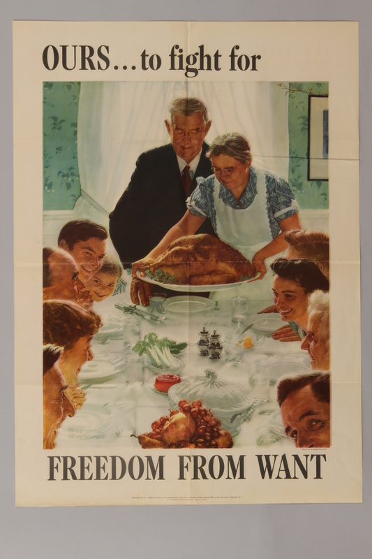 1988.42.4 front US war bonds poster with Rockwell painting of Thanksgiving dinner to promote freedom from want