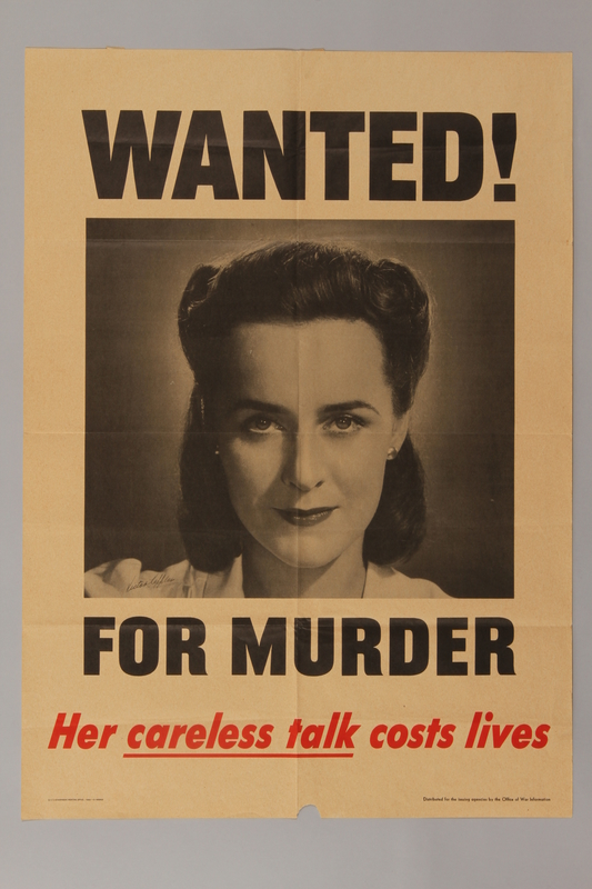 1988.42.5 front US careless talk poster with a mugshot of a woman wanted for putting lives at risk