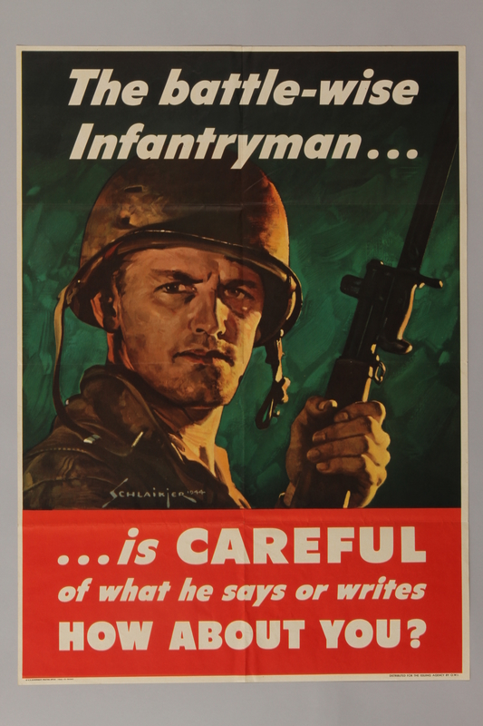 1988.42.6 front US careless talk poster of a soldier warning people to guard their words
