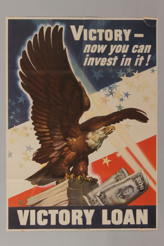 1988.42.7 front US victory bonds poster depicting a bald eagle on a stack of bonds
