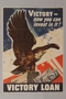 US victory bonds poster depicting a bald eagle on a stack of bonds