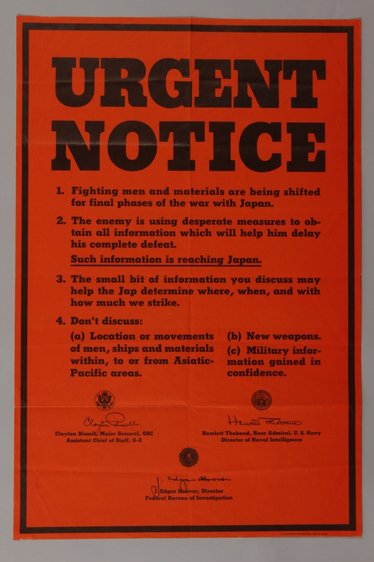 1988.42.8 front US careless talk text only orange poster insisting on silence about the war on Japan