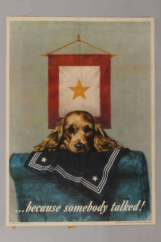 1988.42.9 front US careless talk poster of a dog with a sailor's uniform, waiting for his return