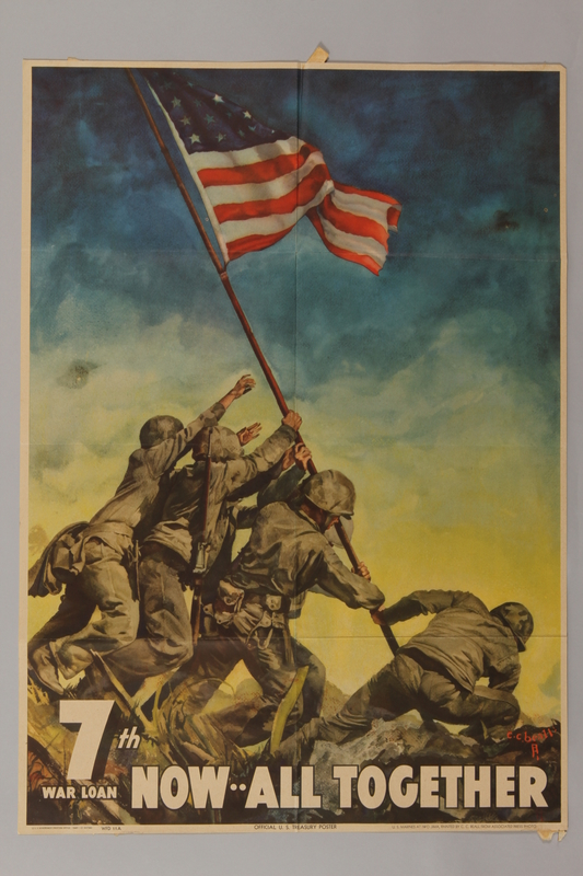 1988.42.10 front US 7th War Loan poster with an image of marines raising the flag on Iwo Jima