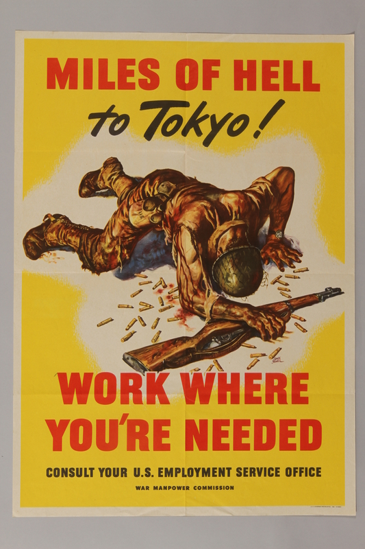 1988.42.11 front US homefront poster depicting a bloodied, wounded soldier trying to stand