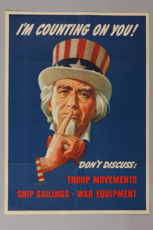1988.42.12 front US careless talk poster of Uncle Sam with his finger to his lips asking for silence